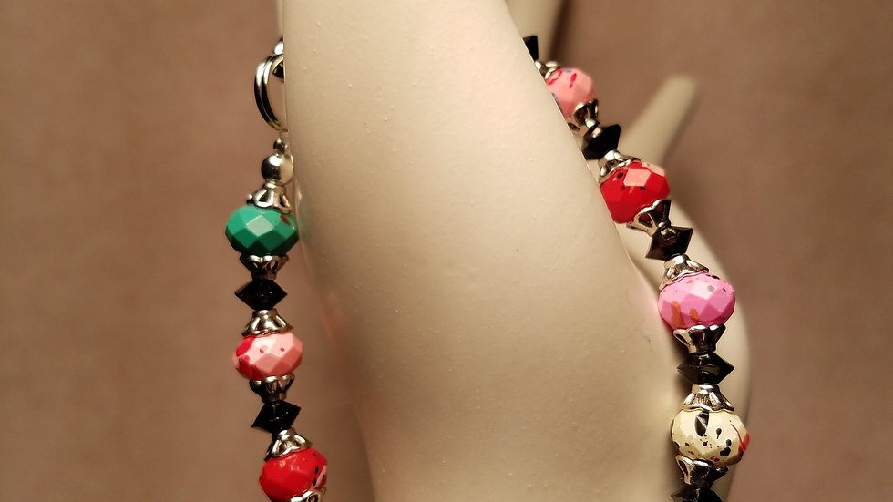 Multifaceted, Multicolor, Semi Precious Stone, Silver Plated Lobster Claw