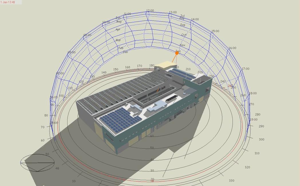 Simulazione arco solare nel mese di gennaio in assonometria