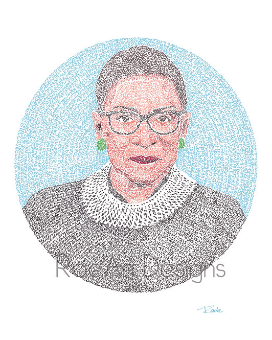 Postcard or Greeting Card: Ruth Bader Ginsburg/RBG Micrography