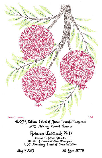 Pomegranates I with Custom Calligraphy Inscription - Micrography by RaeAn Designs