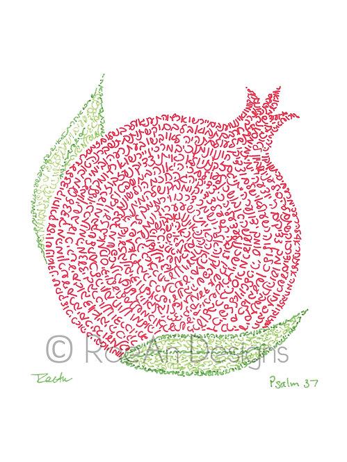 Small Pomegranate - Inktober Micrography Print