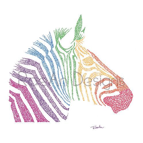 Rainbow Zebra - EDS / Disability Pride Micrography