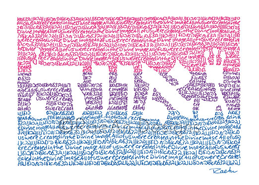 "Bi / Bisexual Pride Flag Micrography: Print (5""x7"")"