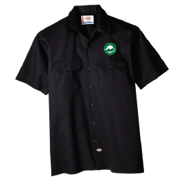 Work shirt with logo patch
