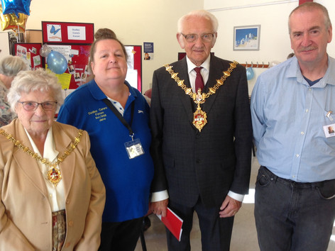 'The Mayor and Mayoress, Councillor Alan Taylor and Mrs Winifred Taylor' with Jane and Lee