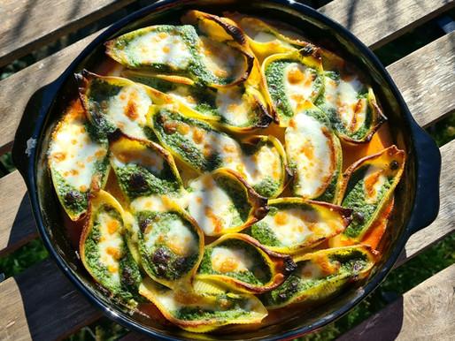 Conchiglioni farcis aux épinards, mascarpone & mozzarella