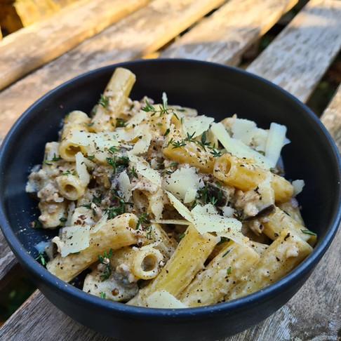 Tortiglioni, Hachis d'agneau, aubergine & mascarpone