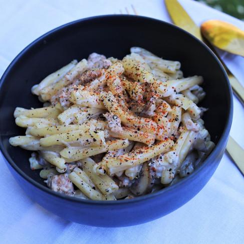 Pâtes ultra crémeuses au haché de poulet et champignons