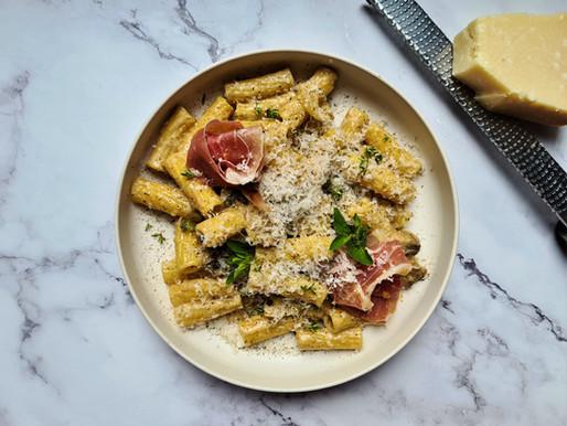 La pasta surprenante - champignons, parmesan et jambon cru