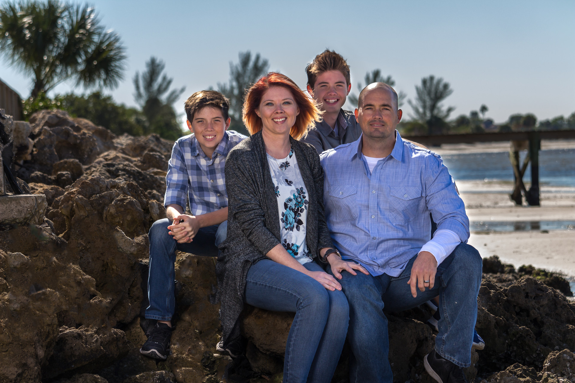 Family photos on rock formation