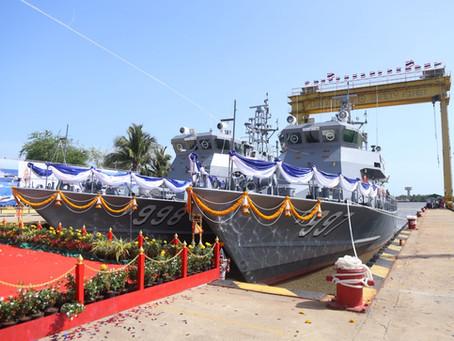 กองทัพเรือทำพิธีปล่อยเรือ เรือตรวจการณ์ใกล้ฝั่งชุดเรือ ต. 997 ที่ต่อโดยคนไทย