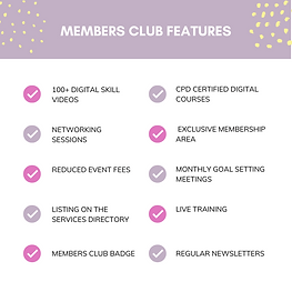 Digital Women Membership Benefits 2021. 100+ digital skills videos, cpd certified digital courses, networking sessions, exclusive membership area, reduced event fees, monthly goal setting meetings, listing on the service directory, live training, members club badge, regular newsletters