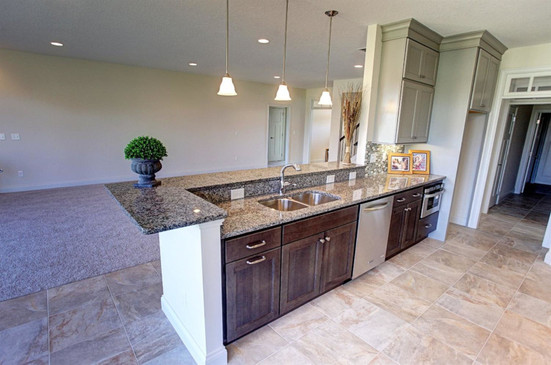 Dungan Custom Homes - Kitchen Opens to Living Room