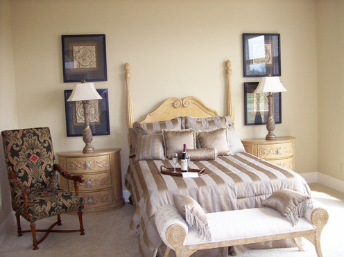 Dungan Custom Homes - Pale Gold Master Bed