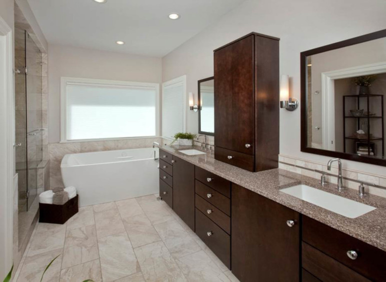 Dungan Custom Homes - Marble and Cherry Master Bath