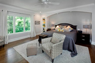 Dungan Custom Homes - White Master Bedroom with Oak Floors