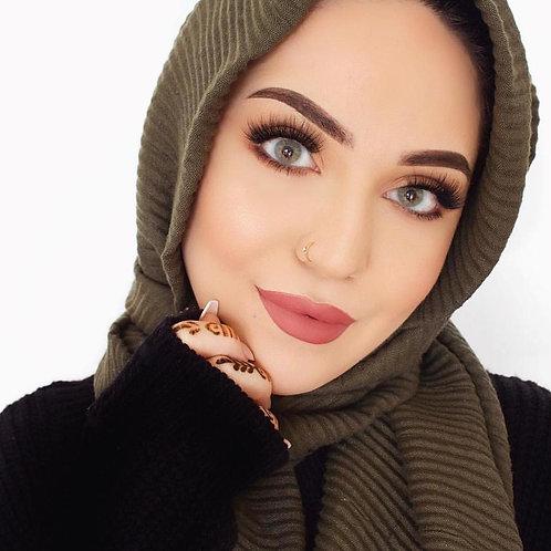 Maxi Hijab Plissé Vert Kaki