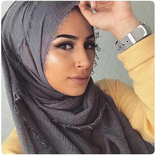 Maxi Hijab à franges Gris foncé