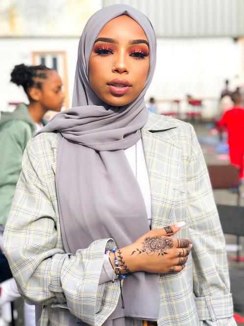 Maxi Hijab Mousseline Gris perle *1m70*
