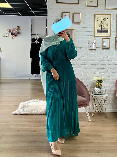 Robe Plissé - Bleu canard