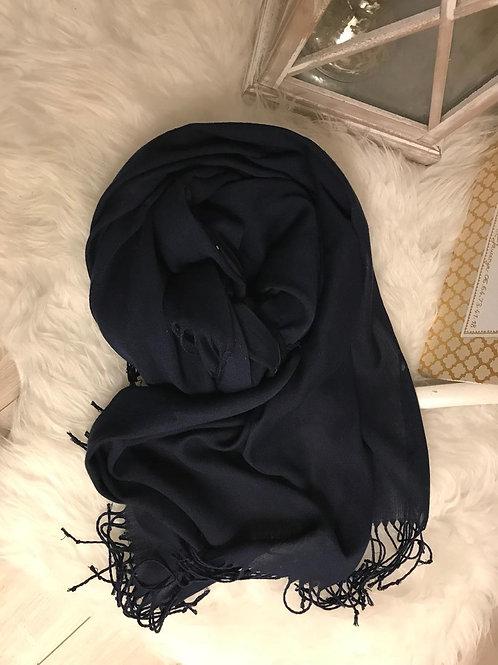 Pashmina Bleu marine - Franges longues