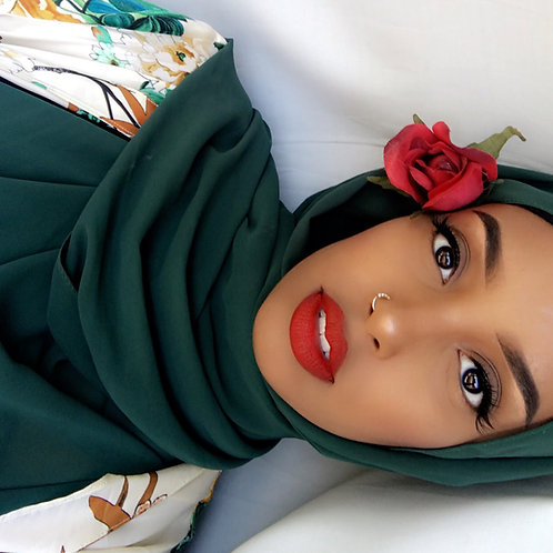 Maxi Hijab Mousseline Vert Émeraude *1m70*
