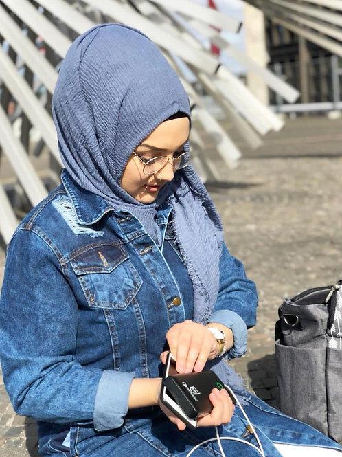 Maxi Hijab à franges Bleu Jean