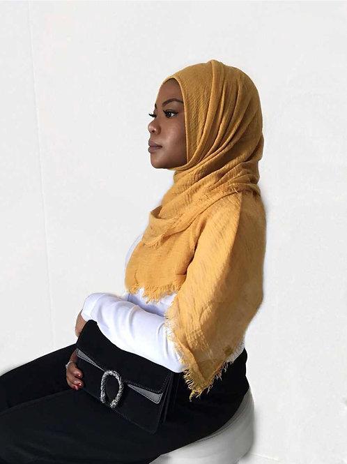 Maxi Hijab à franges Moutarde