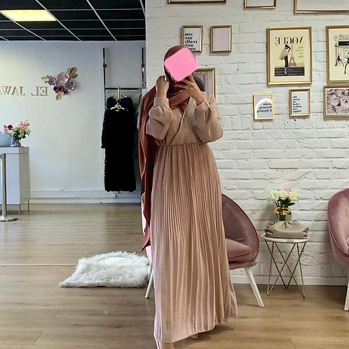 Robe Plissé - Vieux rose