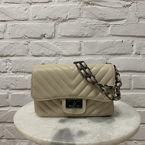 Sac à main AYA BB Chevron Beige