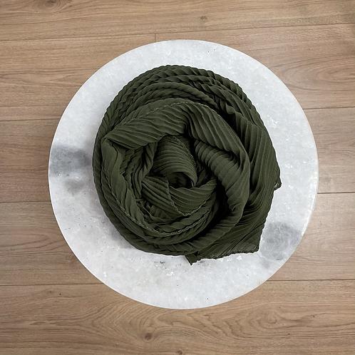 Hijab Plissé mousseline Vert Kaki