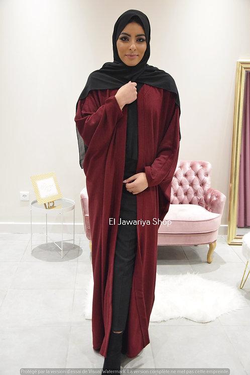 Lady Hanna - Kimono Côtelé Bordeaux