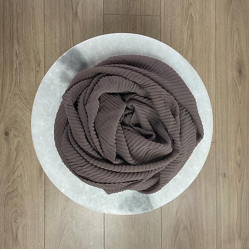 Hijab Plissé mousseline Taupe foncé