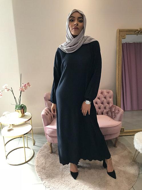 Robe/Sous robe plissée REEM - Noir