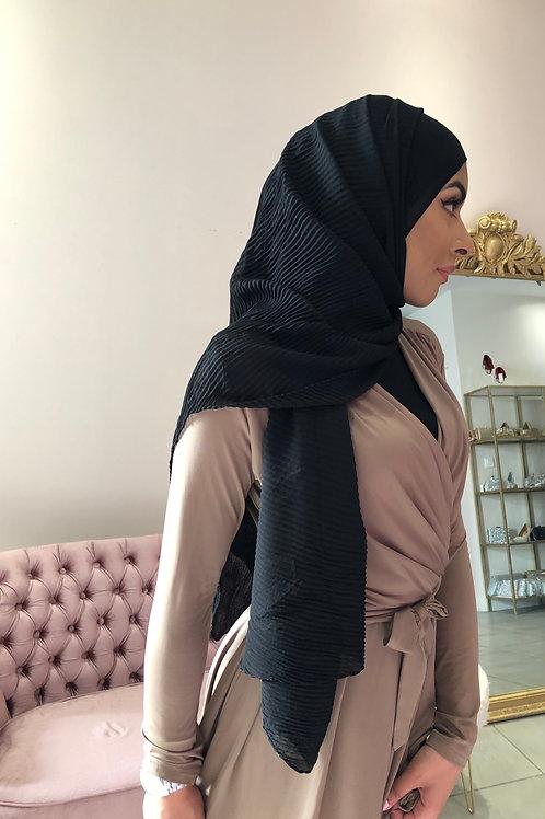 Hijab Plissé mousseline Noir