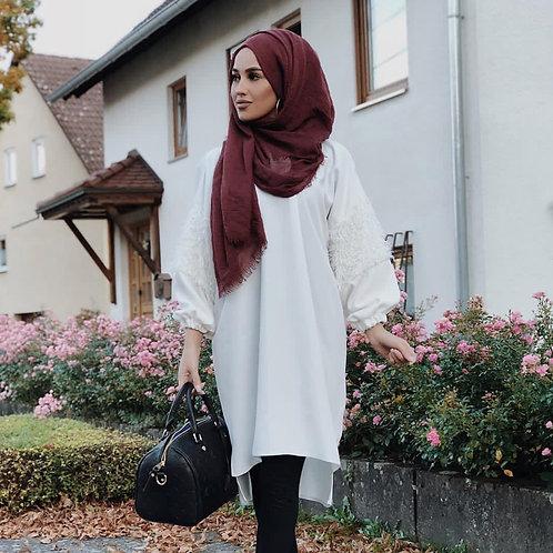 Maxi Hijab à franges Framboise foncé