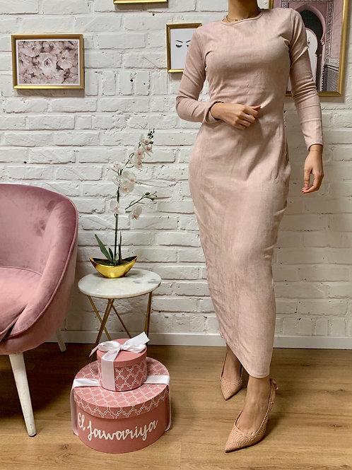 Robe / Sous robe Suédine - Rose pâle