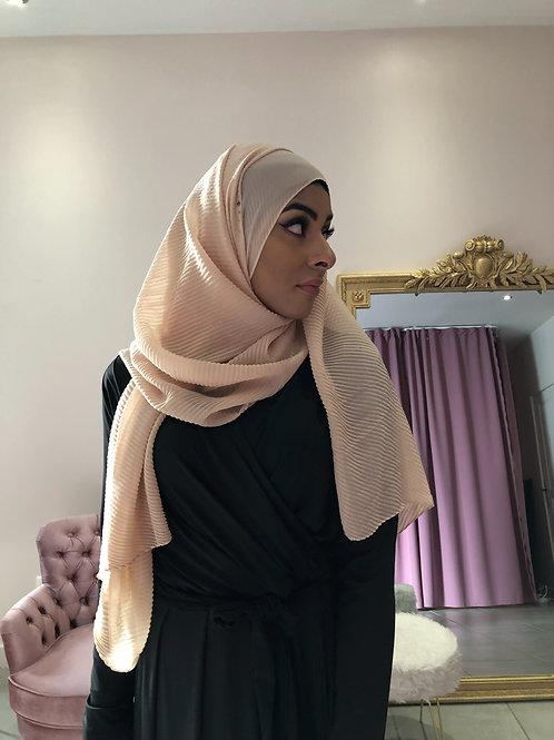 Hijab Plissé mousseline Beige