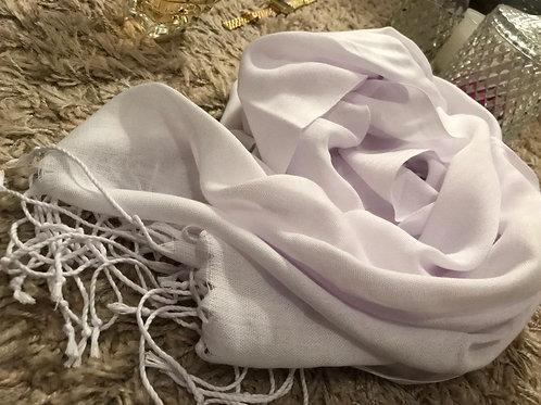 Pashmina Blanc - Franges longues