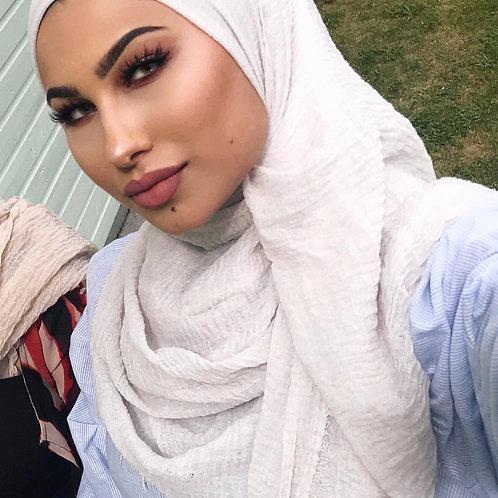 Maxi Hijab à franges Blanc