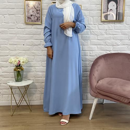 Abaya / Sous robe FLUIDE - Bleu pastel