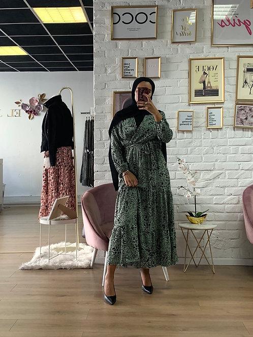 Robe LEO - Noir et Vert anis