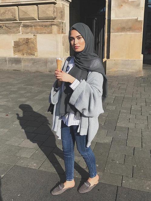 Maxi Hijab  mousseline - Gris *2M*