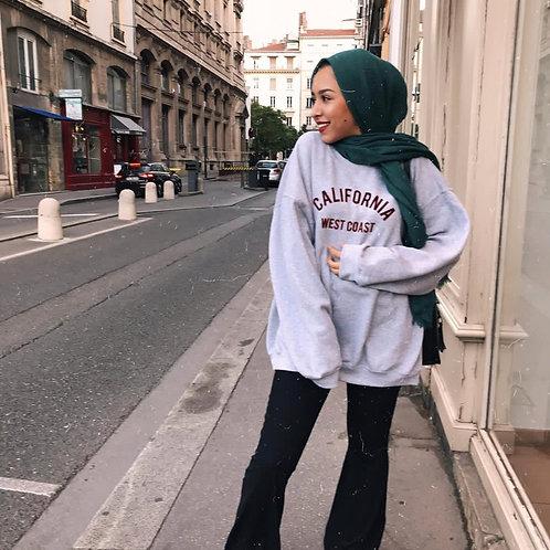 Maxi Hijab à franges Bleu Canard