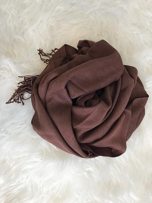 Pashmina Marron Chiné - Franges longues