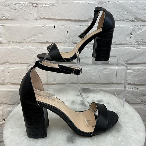 Sandale à talon CROCO Noir