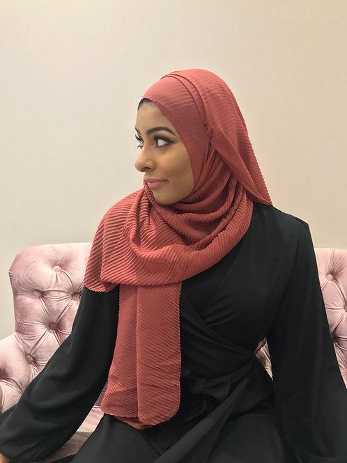 Hijab Plissé mousseline Terracota
