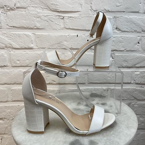 Sandale à talon CROCO Blanc