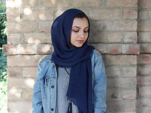 Maxi Hijab à franges Bleu Marine