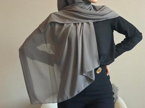 Maxi Hijab  mousseline - Gris *1m70*